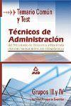 TECNICOS DE ADMINISTRACION HACIENDA TEMARIO COMUN TEST GRUPOS III Y IV